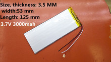 3.7V 3000mah 3553125 Lithium Polymer Li-Po Rechargeable Battery For Mp4 Mp5 GPS PSP PAD E-Book tablet pc power bank video game