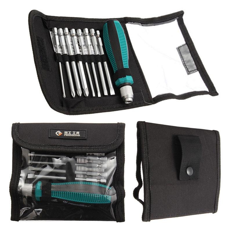 PENGGONG 9pcs/set Precision Repair Tools Strong Magnetic Multi-Bit Screwdriver Set NO.8108 9 IN 1 Screwdrivers Kit Bag 69 in 1 multi bit repair tools screw driver screwdrivers kit