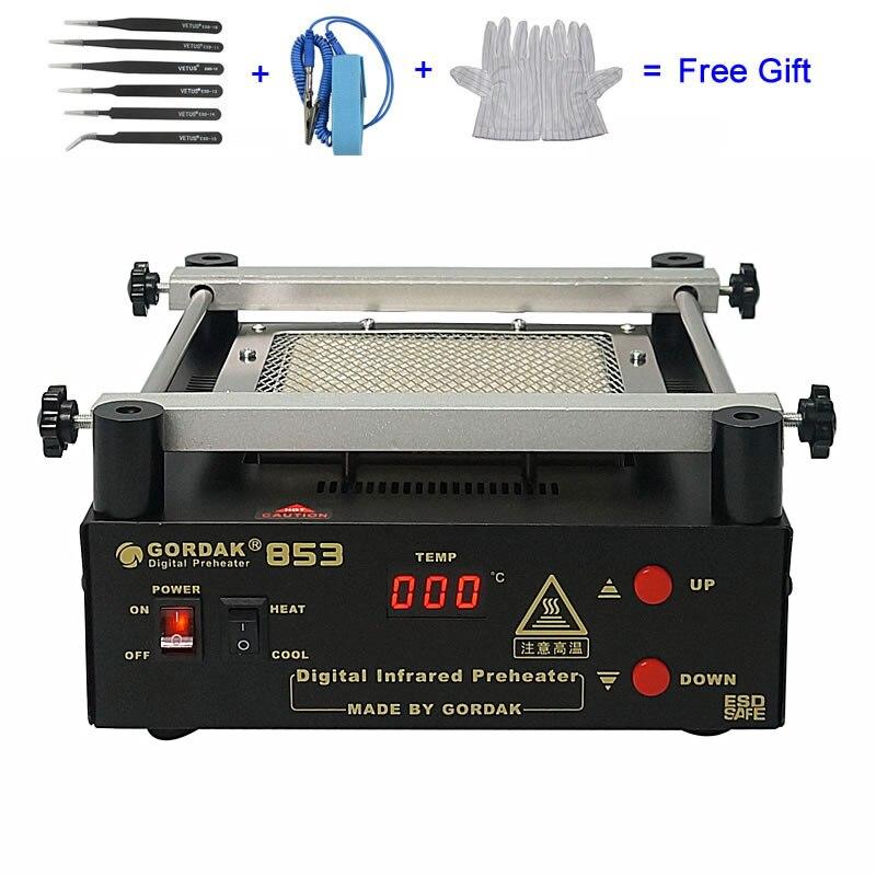 110V 220V Gordak 853 IR Preheater Station Lead Free Infrared Preheating Station BGA Repair Machine
