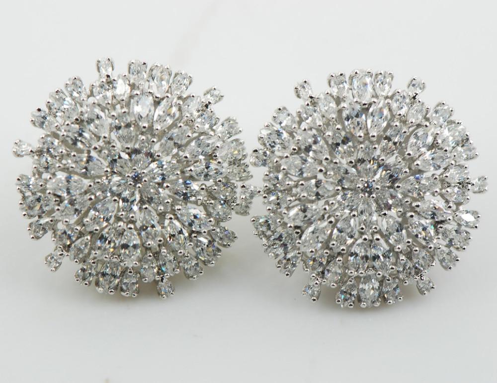 Boucles d'oreilles Zircon cristal blanc femme 925 argent Sterling Multi brillant cristal blanc Zircon AP22