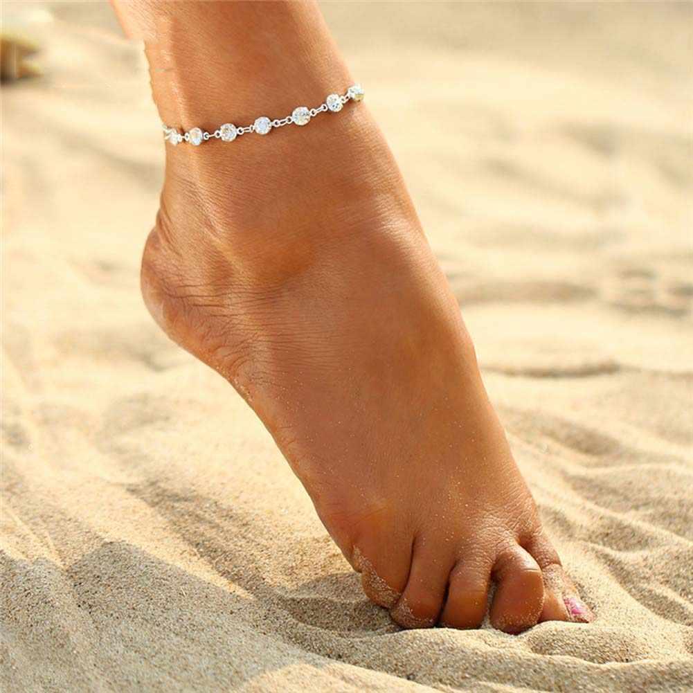 Vintage Moda Kristal Halhal Kadınlar Için Paslanmaz Çelik Ayakkabı Çizme Zinciri Bilezik ayak takısı