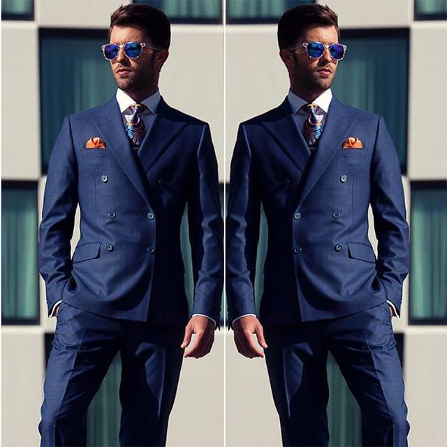 750dae6c15 2018 Navy blue men suit Double breasted suit for men Wide Peaked lapel  Simple men s classic suit Wedding suit for groom tuxedos