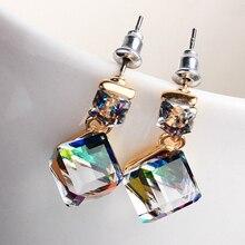 Women's Korean Style Square Shaped Cubic Pendant Earrings Ear Dangle Jewelry