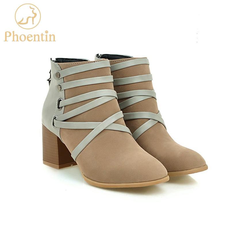 Phoentin troupeau femmes bottes automne patchwork de fermeture à glissière bande cheville bottes pour femmes fasion mix couleur Rome chaussures femme FT194