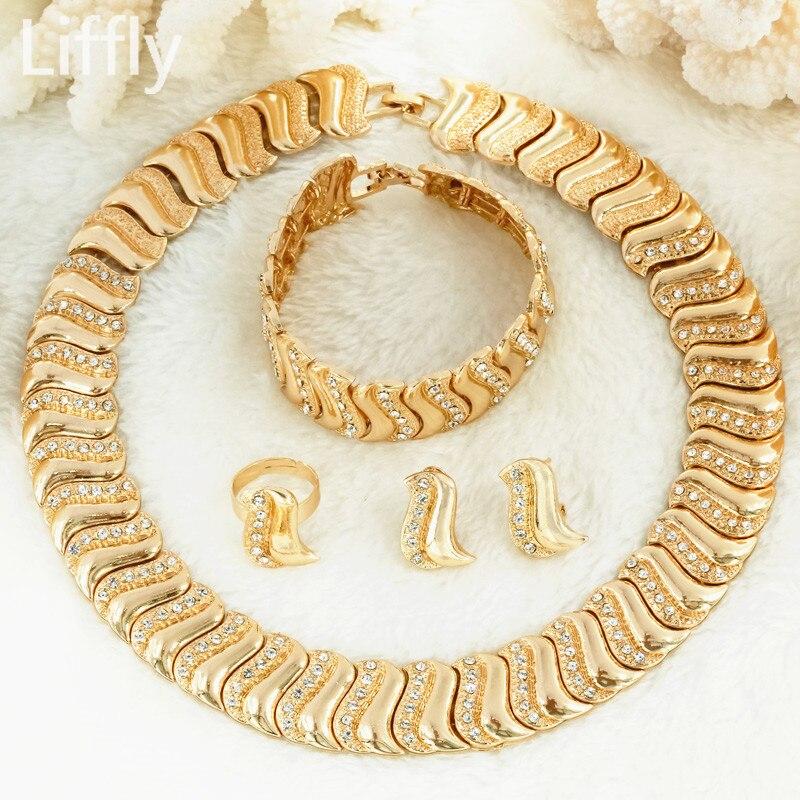 Liffly моды в Дубае Для женщин Кристалл Письмо Z Золотые украшения Дубай свадебное платье Шарм Цепочки и ожерелья серьги наборы и более