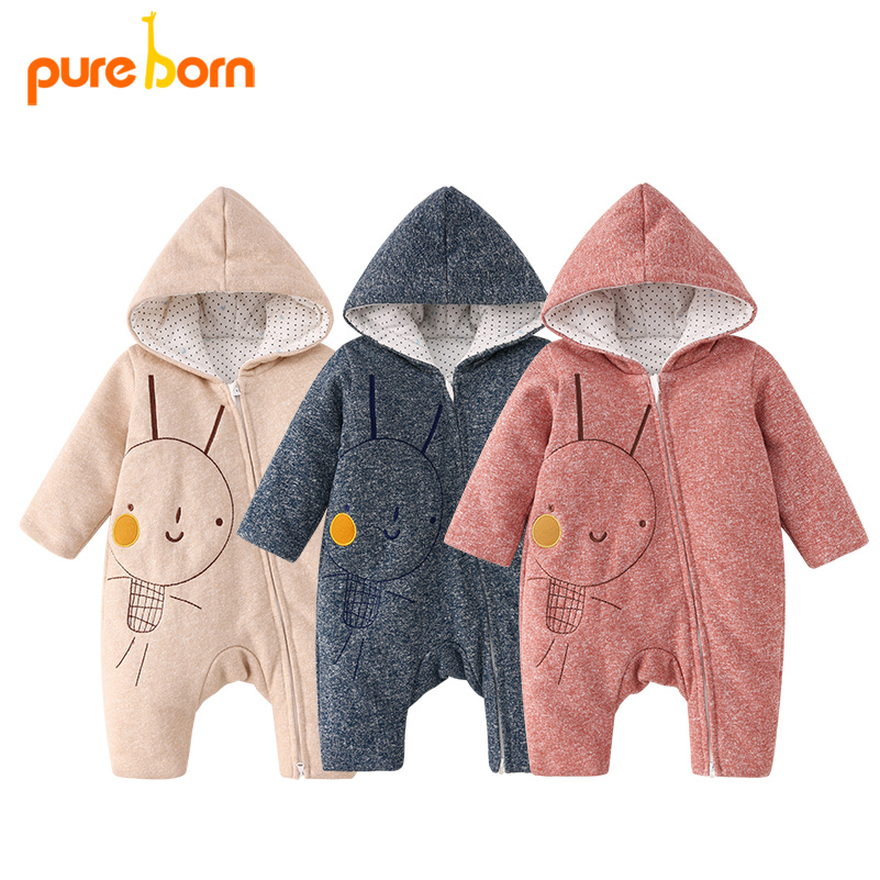 Pureborn Baby Boys Girls   Romper   Zipper Hooded Cartoon Baby Clothes Warm High Quality Cotton Jumpsuit Newborn Overall Droship New