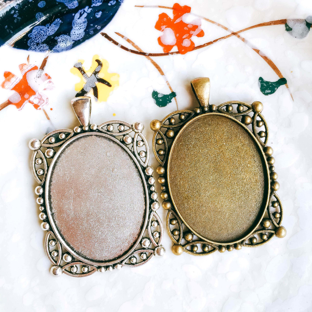 ZEROUP 5pcs/lot 30x40mm Necklace Pendant Setting Antique Bronze Silver Glass Cabochon Blank Base Supplies for Jewelry T156 швейные машины brother швейная машина brother artcity250a