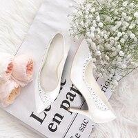 Eshemg/свадебные туфли для невесты, сатиновые белые женские туфли лодочки с кристаллами вечерние туфли каблуке