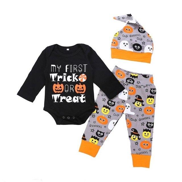 adc77ac32203d winter newborn baby girls bodysuit warm infant baby bodysuits cute printing  Halloween theme baby bodysuit+hat+pant 3pcs