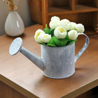 Vintage Mini Metal crafts Iron Flower Watering Barrel Retro Flower Succulent Pot Plant Bucket Home Ornaments Desktop Decoration