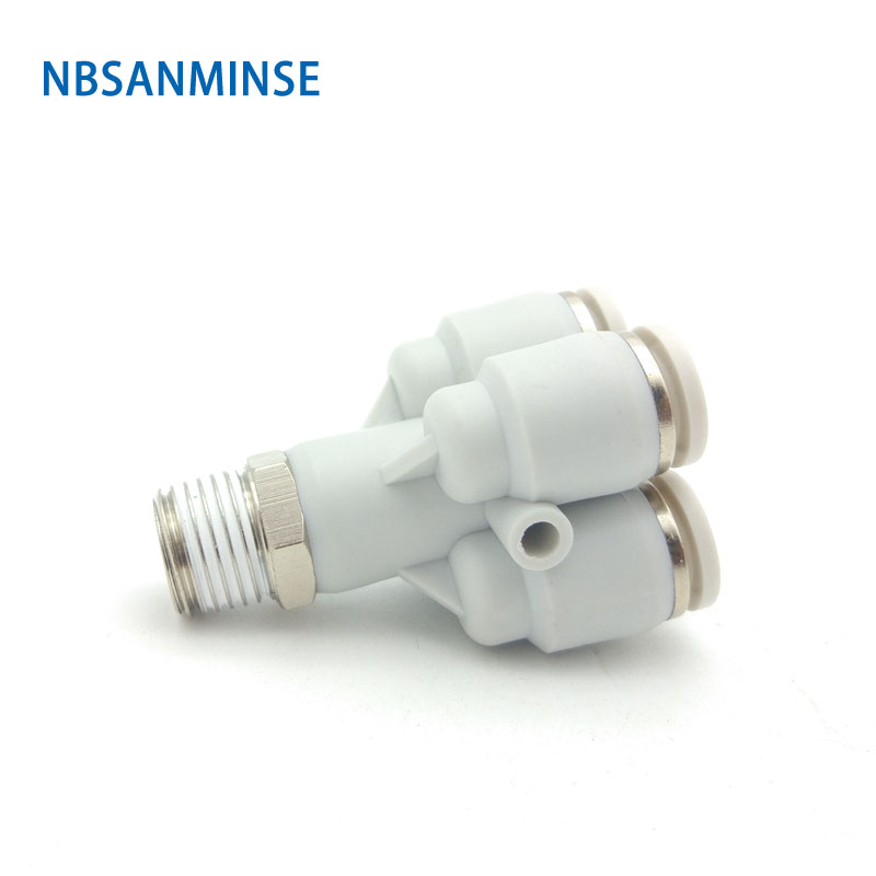 10 Pcs / Lot Free Shipping R Thread Male Thrad Pneumatic Air Fittings Quick Connector 5 Way Double Y Type Push In Joint Sanmin
