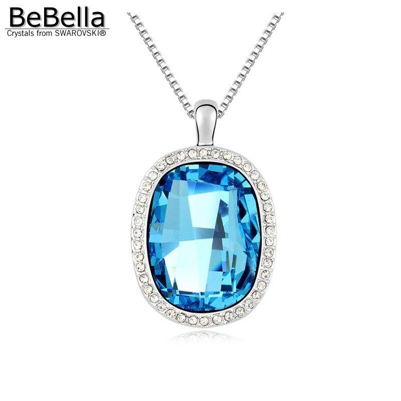 BeBella большой синий хрустальный каменный кулон ожерелье сделано с кристаллами от Swarovski модное ожерелье ювелирные изделия для женщин подарок для девочек - Окраска металла: Aquamarine