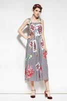 Fashion 2018 Summer Collection Plaid Sundress High Quality Brand Desinger Women S Buttons Retro Print Slip