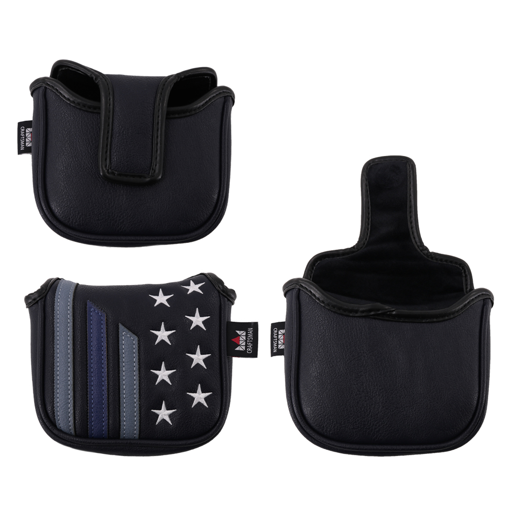 Craftsman Golf Square Mallet Putter Cover Black & Star Stripe Retro Golf Putter Cover With Magnetic Closure Free Shipping