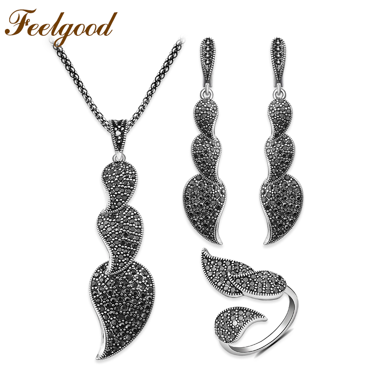 Feelgood Full Black Cz Crystal Leaf Jewelry Set Luxury Vintage Silver Color Wedding Party Jewellery Long Pendant Necklace Sets dr feelgood