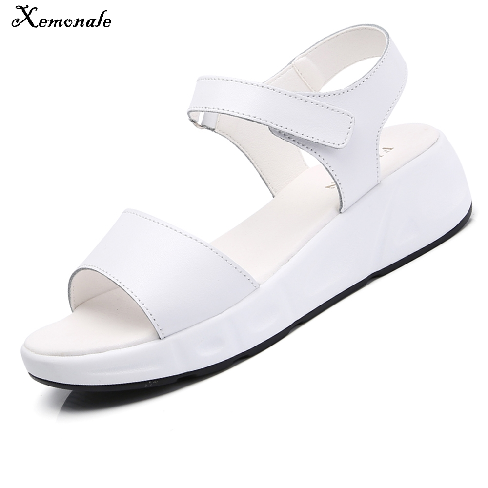 Xemonale 2017 Women Sandals Summer White Wedge Sandals Open Toe Platform Sandals Ladies Genuine Leather Ankle Strap Sandals