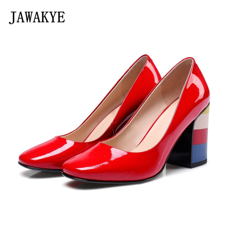 2018 Rainbow high heel pumps red green round Toe Patent Leather round toe shallow mouth dress shoes Women zapatos mujer bebetto rainbow 389 bia red