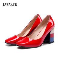 2018 Rainbow High Heel Pumps Red Green Round Toe Patent Leather Round Toe Shallow Mouth Dress