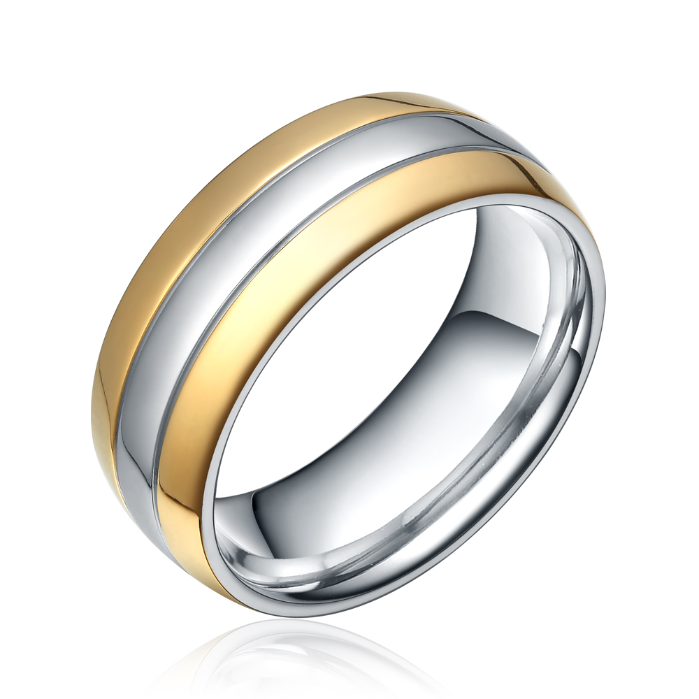 8MM Titanium Ring Two Tone Wedding Band Mens Ring Bridal Jewelry Gold Plated Domed High Polish