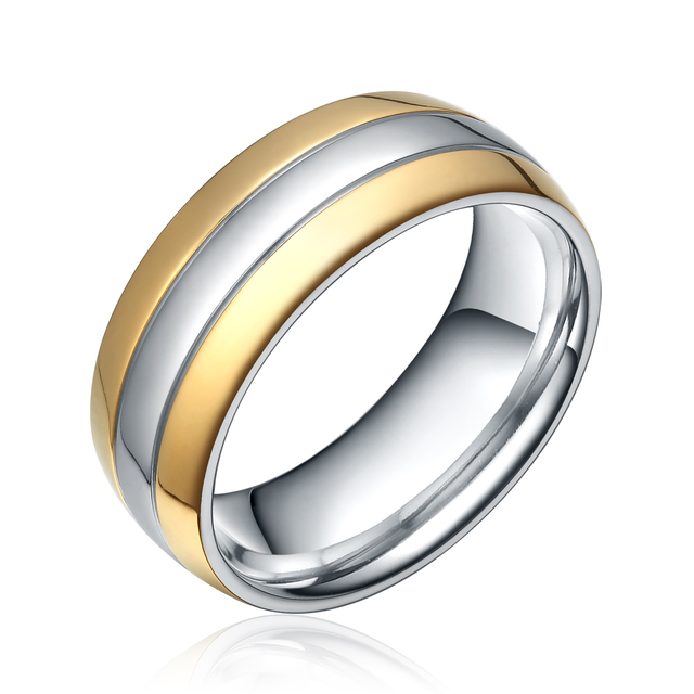 8MM Titanium Ring Two Tone Wedding Band Mens Bridal Jewelry Gold Plated Domed High Polish