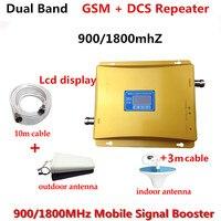 Dual Band GSM DCS Ретранслятор Набор с Телевизионные антенны и коаксиальный кабель, сотовый телефон GSM Booster 900 1800 мГц с ЖК дисплей сигнала Экран дисп