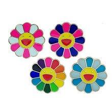 Japan Color Sunflower Brooch Smiley Dripping Oil Metal Lapel Pin Cartoon Badge Denim Collar Bag Hat Decor for Girl Kid Jewelry