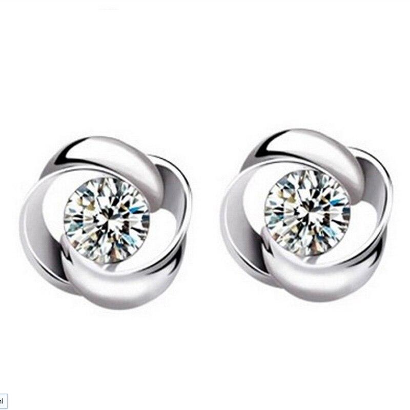 Fashion Jewelry Silver Plated Plated Crystal Flower Shape Ear Stud Earrings Ear Ring Pendant ED09