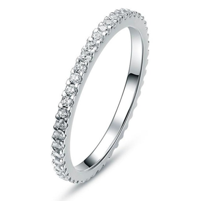 055CT Wholesale Solid Silver Simulate Diamond Wedding Infinity Band Ring Eternity Women Platinum Plated
