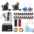 New Arrival US Plug Complete Tattoo Kit DIY 2 Tattoo Machines 20 Inks Power Supply System Casting Machine 10 Wrap Coils