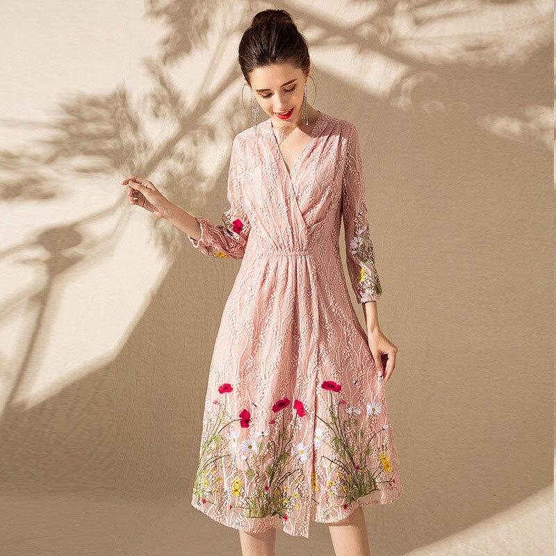 Femmes Printemps Robe nom Pink Brodé blue De V cou Et Fille Gamme Mince Minceur Haut Été Marque Belle Vêtements Exquis Mode Pvq8w