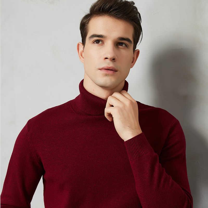 8 farbe Rollkragenpullover Männer 2019 Herbst Winter Neue Dicke Warme Slim Fit Einfarbig Pullover Weiß Pullover Männlich Marke rot Blau