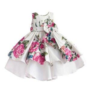 Image 1 - Bebek kız prenses elbise çiçek baskı düğün parti elbiseler çocuk giysileri robe fille vetement enfant fille 2 7T