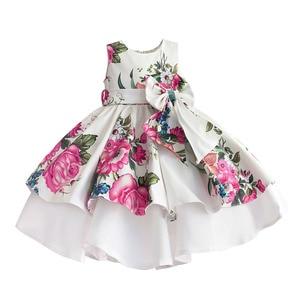 Image 1 - baby girls princess dress floral print wedding party dresses children clothes robe fille vetement enfant fille 2 7T