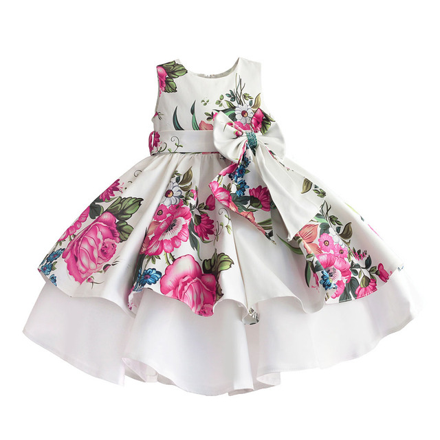 baby girls princess dress floral print wedding party dresses children clothes robe fille vetement enfant fille 2 7T
