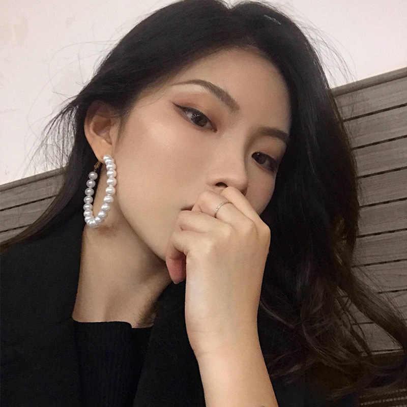 Qingwen อินเทรนด์ 4 ซม. - 6 ซม. มุกต่างหูผู้หญิง 2019 ยุ้ยมุกขนาดใหญ่วงกลมขนาดใหญ่แหวนหูต่างหูแฟชั่นเครื่องประดับ