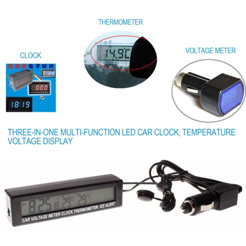 3 In 1 Multifunctional Car Digital Thermometer Voltmeter Clock LCD Screen Display Outdoor Indoor EC88 Car Clock