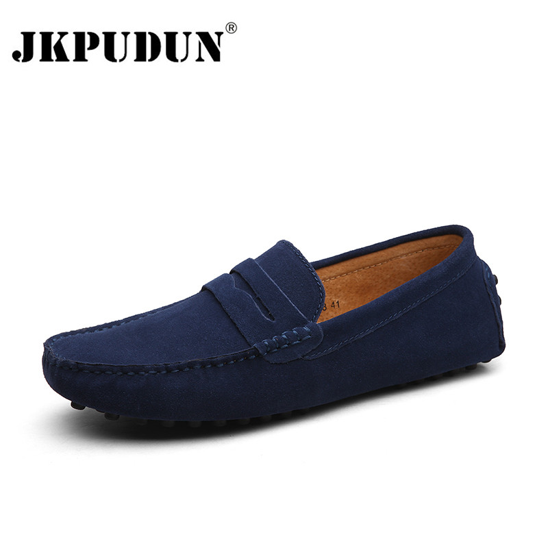 JKPUDUN Handmade Suede Leather Mens Shoes Casual Luxury Brand Men Loafers Italian Breathable Driving Shoes Slip On Moccasins Men