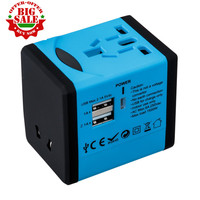 Worldwide Universal Travel Adapter USB port wall Charger US EU UK AU Plug 5V 2.1A for cell phone pc blue color