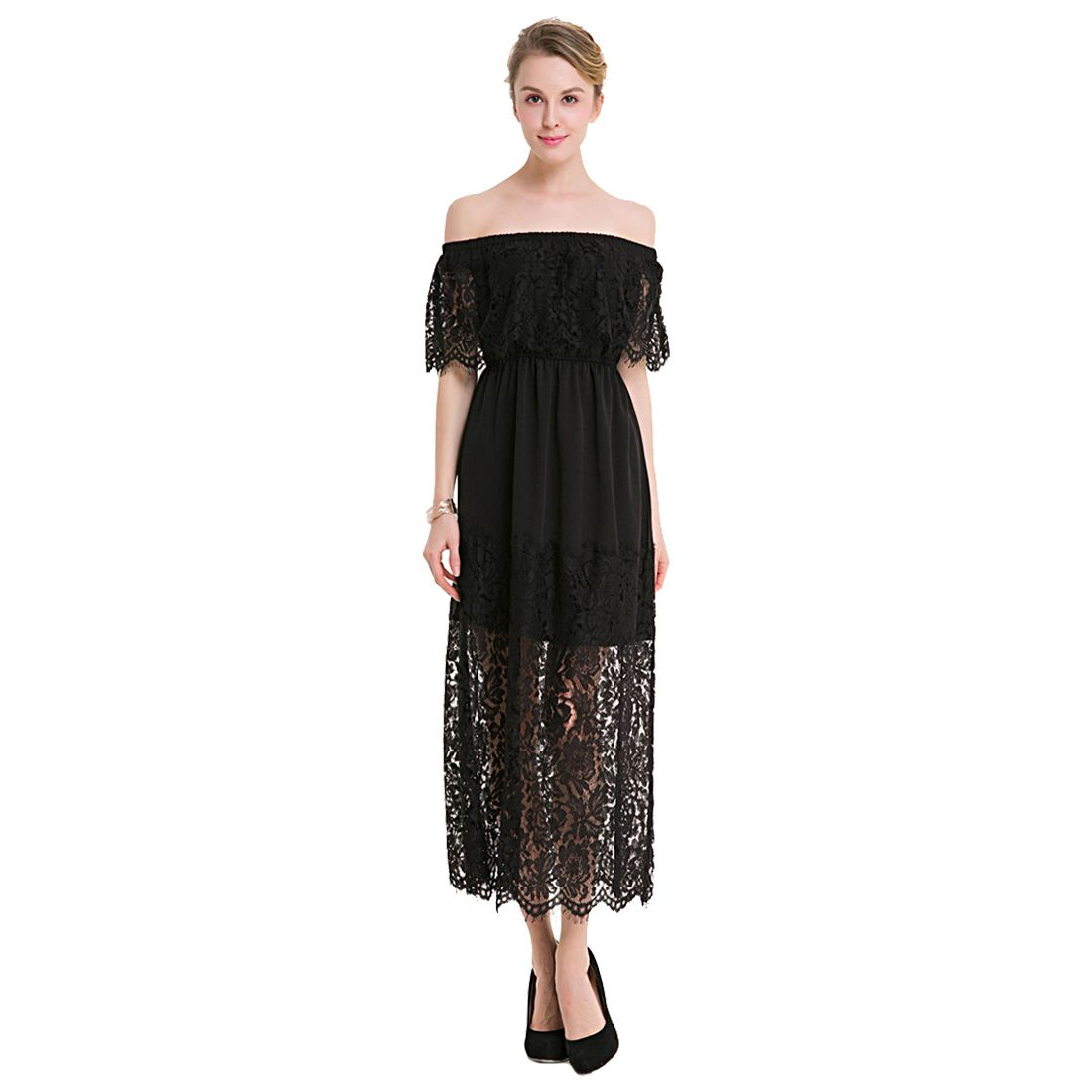 TFGS Women Original Design Lace Slash Neck Summer Dress Petal Sleeve Elegant Lady Casual Dresses