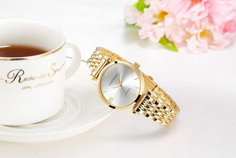 נשים של שעון יד 2019 יוקרה מותג Contena גבירותיי קוורץ שעון מלא נירוסטה נשי שעון שעוני יד reloj mujer