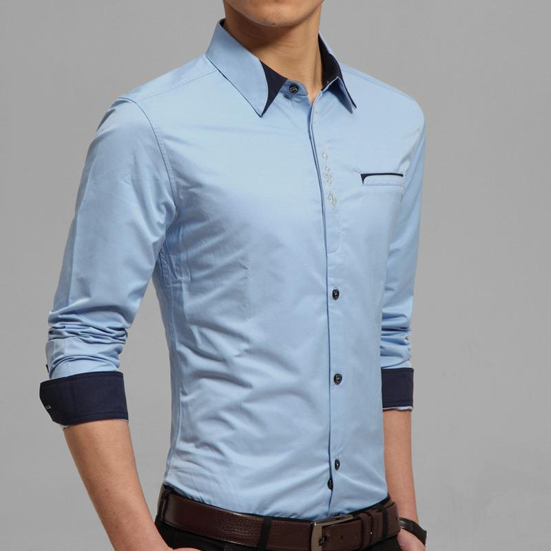Mens Casual Shirts Tailor Made Slim Fit White Light Blue Navy Blue ...