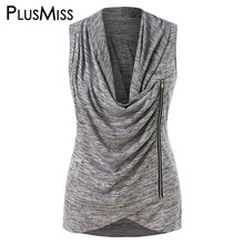 PlusMiss Plus Size 5XL Side Zipper Cowl Neck Ruched Marled Tank Top XXXXL XXXL XXL Summer Women Big Size Sleeveless Vests Top цена в Москве и Питере