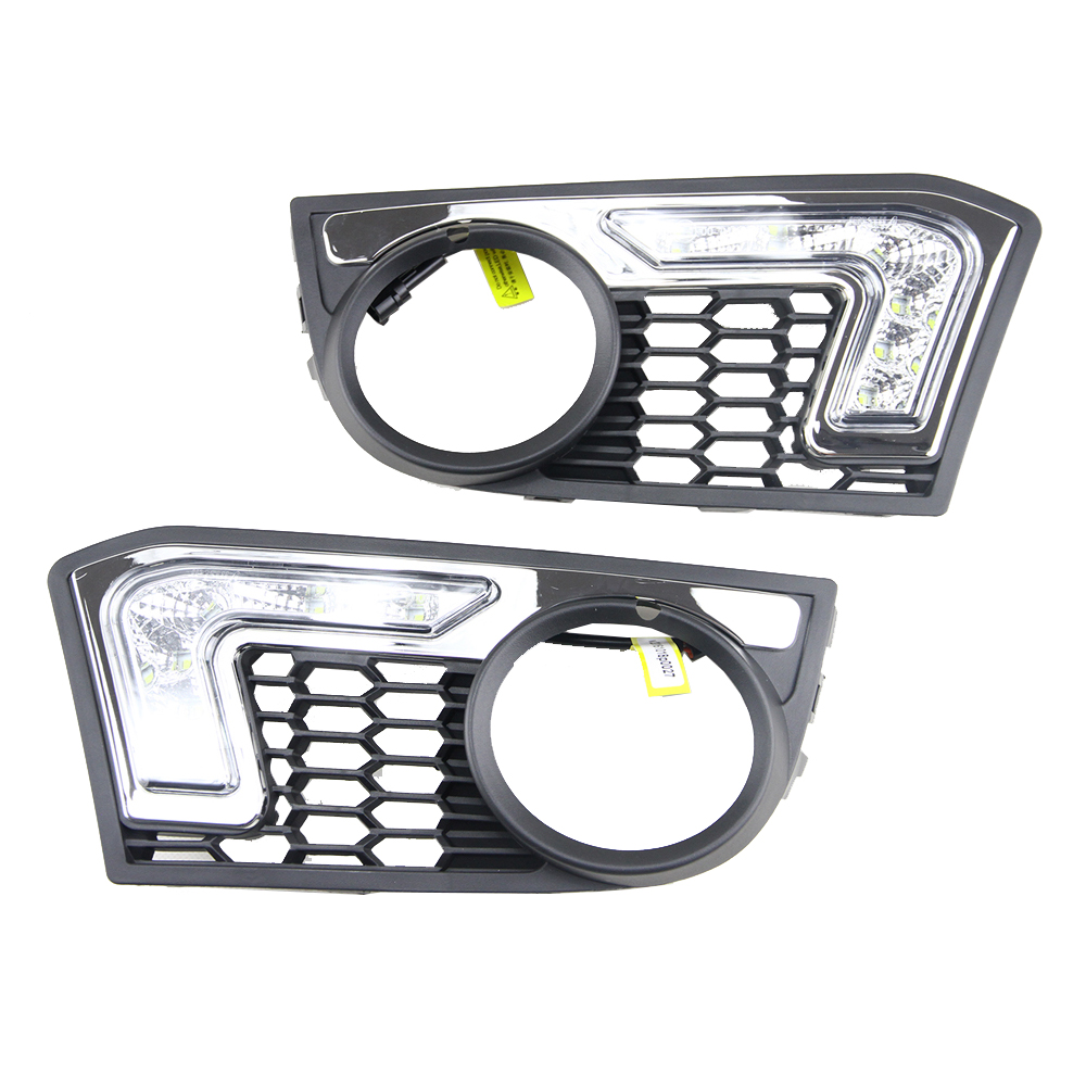 Xenon White 12W High Power LED Daytime Running Lights Kit For BMW F10 M-Tech 6 LEDs Driving Light DRL Fog Lamp with relay led drl daytime running fog lights with pole for bmw 5 series f10 10 m tech m technik daylight fog led head lamp