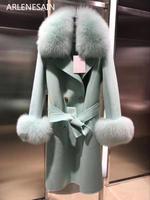 Arlenesain custom Macaron wool coat fox fur sleeves are detachable women coat with fox fur collar