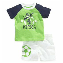 New Fashion 2016 Summer Boy's Tracksuit football Man Children t-shirt + Shorts for Boys Casual Cotton Suit Boy Clothing Set