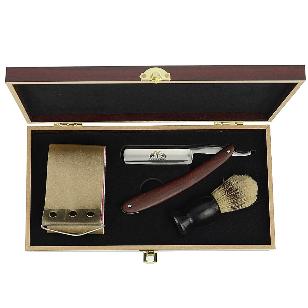Grandslam Straight Shaving Razor Men Cut Throat Knife Gift Set Barber Shave Beard Bristle Brush Sharpening Strop Belt Wood Box vintage men shave beard straight shaving razor cut throat knife gold dollar 800 leather sharpening strop polishing paste
