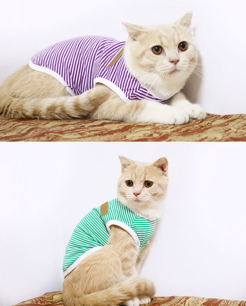 Pets Dog Clothing Spring/Summer Pet Cat Clothes for Cats Kitty Kitten Classic Striped Vest T-shirt Fashion Cotton Cats Shirts 5