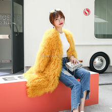 SF0169 Russia Fashion Long Overcoats Knitted Lamb Fur Coats Natural