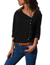Yfashion Women Fashion Button Irregular Skew Collar Shirt Long Sleeve Tops Solid Color
