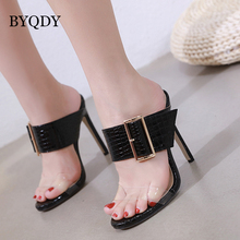 BYQDY Fashion Women Summer Slippers Sexy Buckle Thin Heels Women Slippers Sandals Slides Shoes Size 35-40 Big Promotion Black byqdy fashion women summer slippers sexy buckle thin heels women slippers sandals slides shoes size 35 40 big promotion black